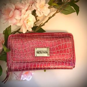 Kenneth Cole Large Shiny Allagator Pink Wallet